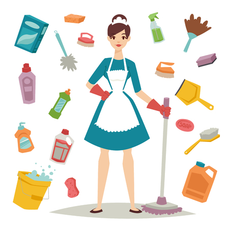 Ilustración de Housewife girl homemaker cleaning and housewife pretty girl wash. Housewife girl and home cleaning equipment icon in flat style vector illustration. - Imagen libre de derechos