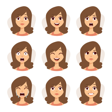 Illustration pour Woman emotions expression icons and beauty woman emotions vector. Isolated set of woman avatar expressions face emotions vector illustration. - image libre de droit