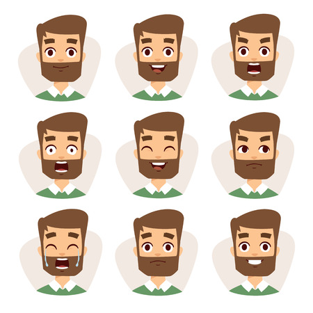 Illustration pour Beard man emotions and avatar beard man characters emotions. Faces vector characters mosaic of young beard man expressing different emotions icons. - image libre de droit