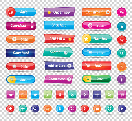 Illustration for Colorful long round website buttons design vector illustration. Buttons glossy, website buttons graphic label and website buttons internet template banner. Website buttons menu reflection navigation. - Royalty Free Image