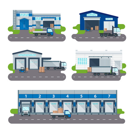Illustration pour Modern warehouse logistics delivery of goods transportation and warehouse logistics delivery operator shop. Logistics collection warehouse delivery center, loading trucks, forklifts workers vector. - image libre de droit