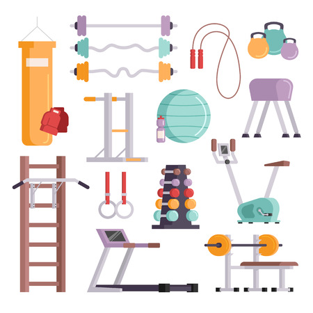 Illustration pour Vector illustration of gym equipment and training body gym sport equipment. Fitness sport gym exercise equipment workout flat set concept vector illustration. - image libre de droit