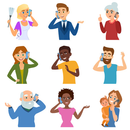 Ilustración de People talking phone character set and different people talking phone. Telephone communication people lifestyle. Set of calling mobile business adult people talking phone character vector illustration - Imagen libre de derechos