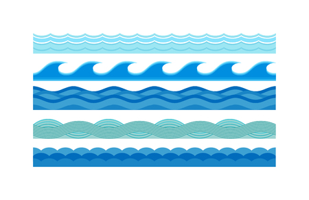 Illustration pour Nature waves and sea horizontally waves. Waves design pattern nature decoration, creative wet blue waves set. Sea waves pattern set horizontally ocean abstract element nature flat vector illustration. - image libre de droit