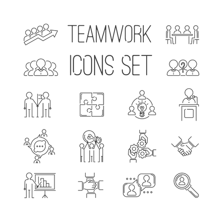 Illustration for Business teamwork teambuilding thin line icons. Business, team work, command management thin lines and human resources icons. Teamwork icons, team work sign, Business work concept line icons vector - Royalty Free Image