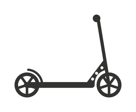 Illustration pour Black push kick scooter fun activity transportation vehicle sport ride toy vector illustration. Kick scooter toy and kick scooter silhouette. Silhouette kick scooter handle transport push scooter. - image libre de droit