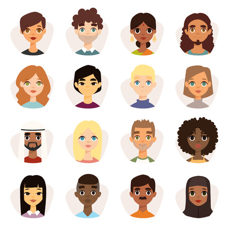 Illustration pour Set of diverse round avatars with facial features different nationalities, clothes and hairstyles. Cute different nationalities flat cartoon style faces avatars different nationalities man and woman. - image libre de droit