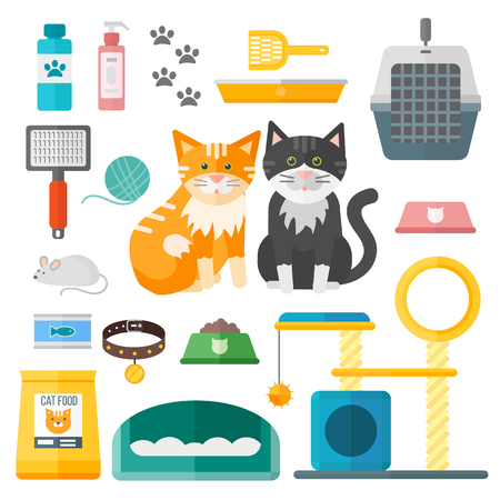 Illustration pour Pet supplies cat accessories animal equipment care grooming tools vector set. Cat accessories and food, domestic feline cat accessories. Cartoon animal kitten safety cat grooming accessory. - image libre de droit