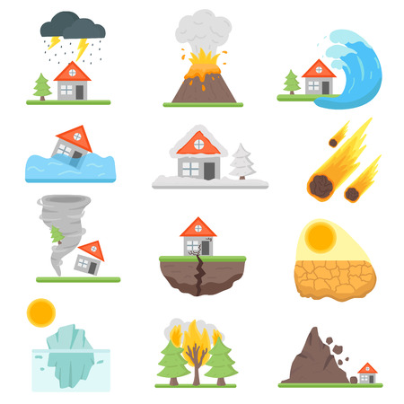 Illustration pour Home insurance business set vector illustration with house icons suffering from natural events or disasters. Layout natural events, disasters template for infographics. Danger natural events. - image libre de droit
