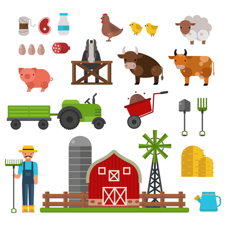 Farm animals, food and drink production symbols, organic product, machinery and tools on the farm vector illustration. Farm agriculture symbols and nature organic farm symbols harvest collection.
