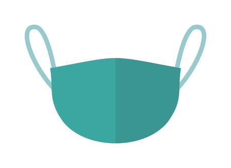 Illustration pour Medical accessories breath doctors mask medicine health hospital care surgical equipment vector icon. Surgical doctor's mask and nurse doctor's mask uniform. Protection blue doctor's mask. - image libre de droit