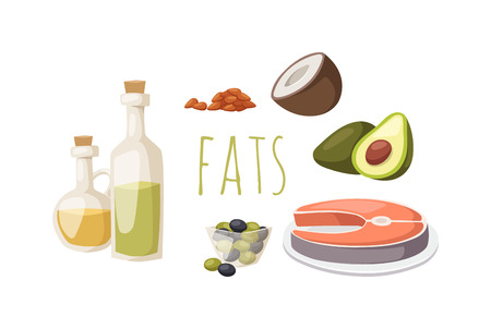 Illustration pour Food fats good high in protein isolated on white avocado, nuts and fish meat vector. High fat foods healthy, selection of healthy fat sources food diet. Good fats diet healthy food diet. - image libre de droit