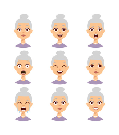 Illustration pour Old people grandmother emotions expression icons and funny granny emotions vector. Isolated set of funny grandmother avatar expressions face emotions vector illustration. Grandmother face - image libre de droit