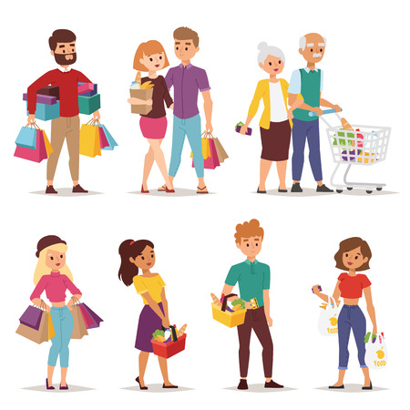 Illustrazione per Collection going shopping people with shopping bags. Shopping people woman and man with bags. Shopping people collection. Flat style people in shopping mall supermarket grocery shop figure vector. - Immagini Royalty Free