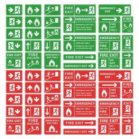 Illustration for Set of emergency exit sign vector. Fire exit, emergency exit, fire assembly point, evacuation lane, fire extinguisher. For emergency use only, no re-entry building exit sign. Exit sign green warning. - Royalty Free Image