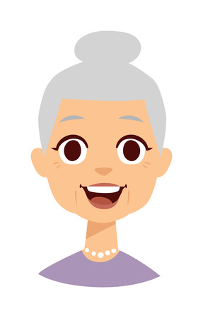 Illustration for Old people cute granny and funny cute granny face. Cute granny vector character and cartoon cute happy granny. Cute granny adult happy woman face and old granny character love lifestyle. - Royalty Free Image
