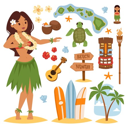 Illustration pour Vector vintage set of hawaiian icons and symbols. Hawaii beautiful girl coconut cocktail sandy beach. Hawaii palm tree beach symbols. Vintage fun pacific hawaiian flower, beautiful turquoise. - image libre de droit