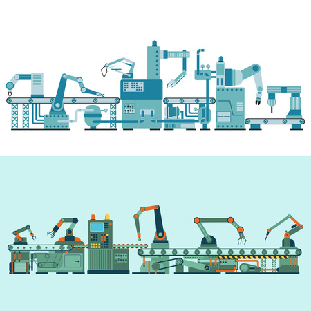 Ilustración de Container terminal production transporter industrial technology, plant factory equipment. Vector production transporter machine transport line manufacturing. Conveyor production transporter. - Imagen libre de derechos