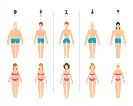 Ilustración de Female body types vector illustration. Body types slim anatomy constitution hourglass women proportions set. Style rectangle waist body types figure shape female silhouette. Fashion girl beauty body. - Imagen libre de derechos
