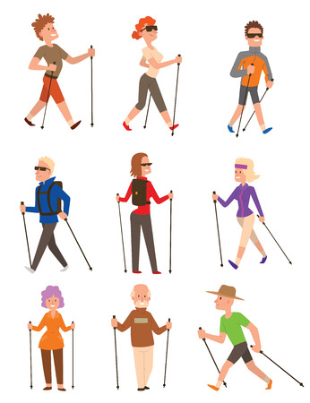Illustration pour Group of nordic walkers vector character set fun leisure happy people. Nordic walking sport healthy lifestyle exercise leisure. Hiking recreation training nordic walking sport active people. - image libre de droit