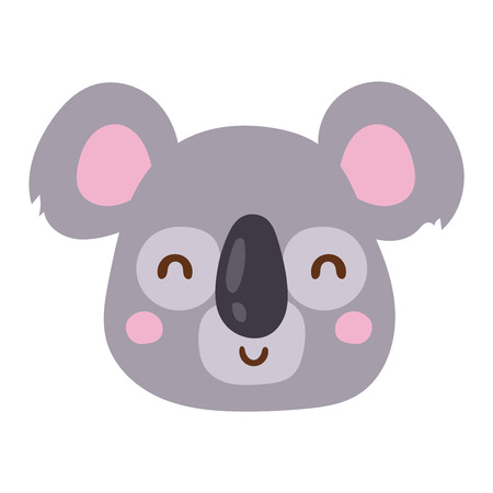 Cute animal koala head emotion vector avatar. Cartoon happy koala animal emotion expression isolated face character. Adorable mammal emojji avatar animal emotions. Animal koala character