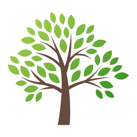 Ilustración de Stylized vector tree logo icon. Vector tree flat silhouette isolated on white. Tree shape and foem symbol. Green tree vector icon logo isolated. Natural eco product logo - Imagen libre de derechos