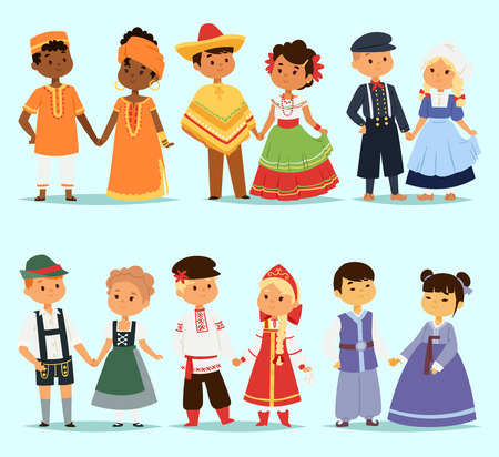 Illustration pour Lttle kids children couples character of world dress girls and boys in different traditional national costumes and cute nationality dress illustration. - image libre de droit