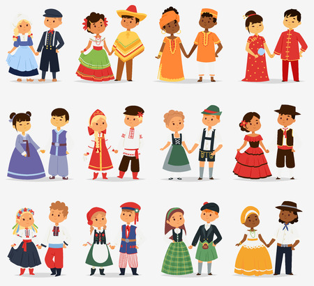 Illustration pour Lttle kids children couples character of world dress girls and boys in different traditional national costumes and cute nationality dress vector illustration. - image libre de droit