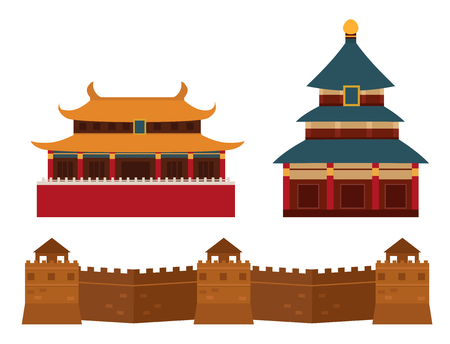 Illustration pour Great wall of China beijing asia landmark brick architecture culture history vector illustration. - image libre de droit