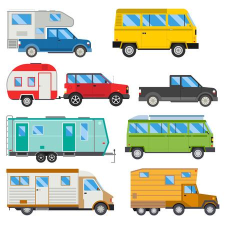 Illustration pour Campers vacation travel car summer nature holiday trailer house vector illustration flat transport - image libre de droit