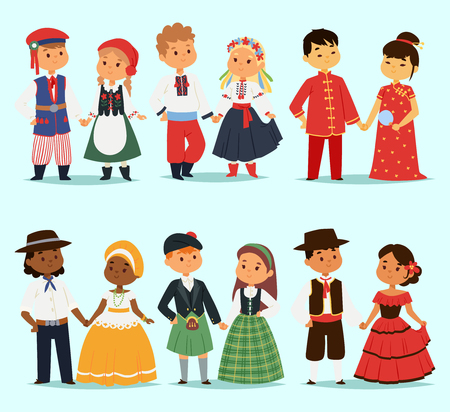 Illustration for Traditional kids couples character of world dress girls and boys in different national costumes and cute little children nationality dress vector illustration. - Royalty Free Image