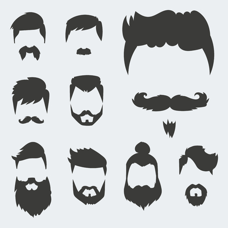 Illustration pour Vector set of hipster retro hair style mustache vintage old shave male facial beard haircut isolated illustration - image libre de droit