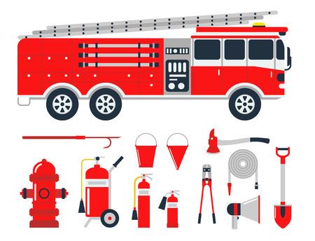 Illustration pour Fire safety equipment emergency tools firefighter safe danger accident protection vector illustration. - image libre de droit