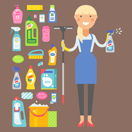 Illustration for Cleanser bottle chemical housework product and woman care wash plastic equipment cleaning liquid flat vector illustration. Hygiene domestic container toiletries household tool. - Royalty Free Image