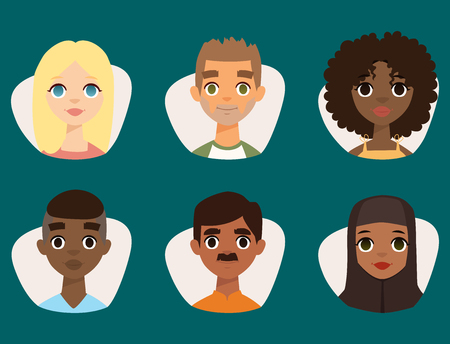 Illustration pour Set of diverse round avatars with facial features different nationalities clothes and hairstyles people characters vector illustration - image libre de droit