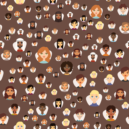 Illustration pour Seamless pattern diverse round avatars with facial features different nationalities, clothes and hairstyles people characters vector illustration. Cute cartoon style faces man and woman. - image libre de droit