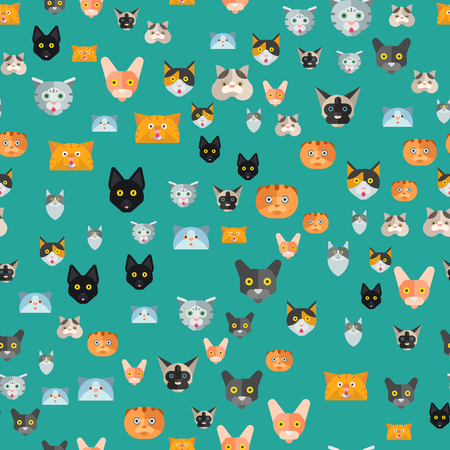 Illustrazione per Cats vector illustration cute animal seamless pattern funny decorative kitty characters feline domestic trendy pet kitten - Immagini Royalty Free