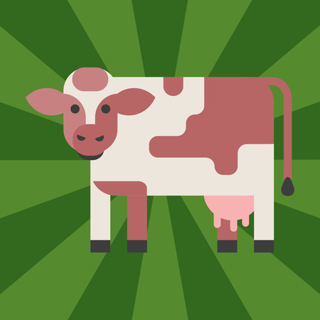 Cow farm animal character vector illustration. Cattle mammal nature wild beef agriculture. Domestic funny rural bovine horned cartoon buffalo.