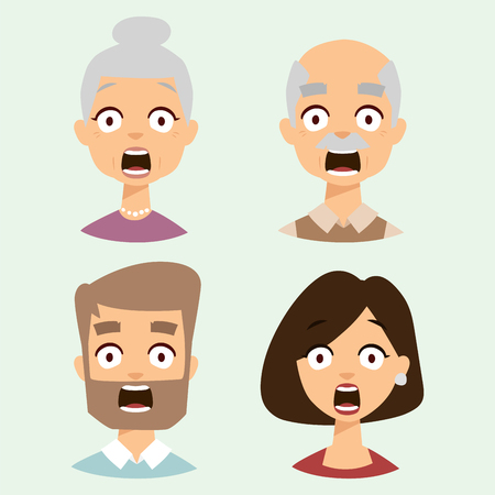 Illustrazione per Vector set beautiful emoticons face of people fear shock surprise avatars characters illustration - Immagini Royalty Free
