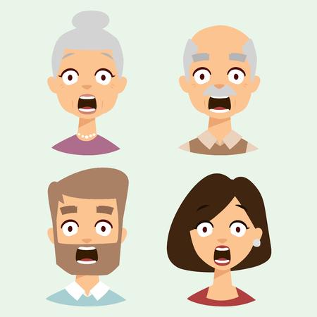 Illustration pour Vector set beautiful emoticons face of people fear shock surprise avatars characters illustration - image libre de droit