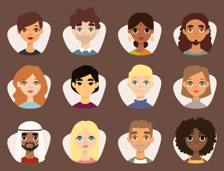 Illustration pour Set of diverse round avatars with facial features - image libre de droit