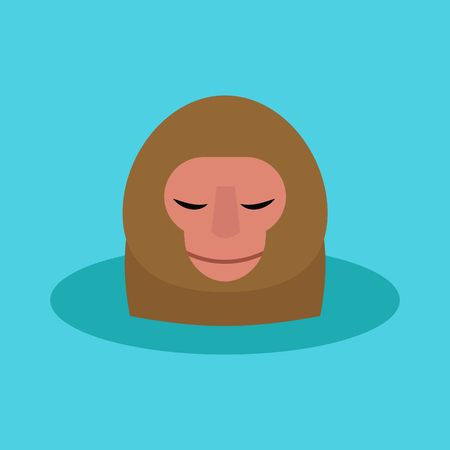 Illustration for Monkey head character animal illustration on a blue background. - Royalty Free Image