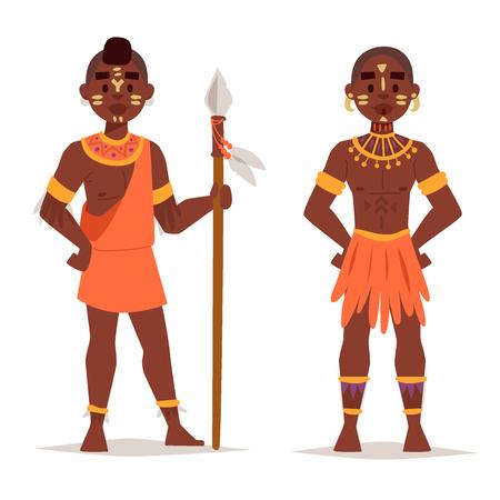 Ilustración de Maasai couple African people in traditional clothing happy person families  illustration, Family American adult ethnic men. - Imagen libre de derechos
