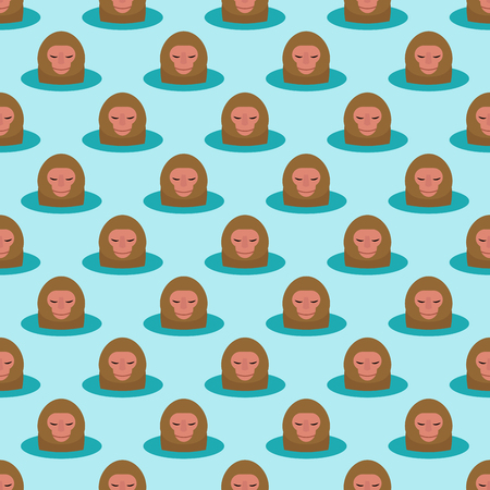 Illustration for Monkey head character seamless pattern background. - Royalty Free Image