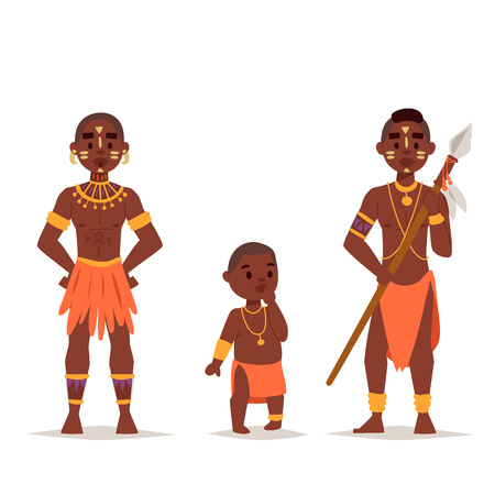 Illustration pour Maasai african people in traditional clothing happy person families vector illustration. - image libre de droit