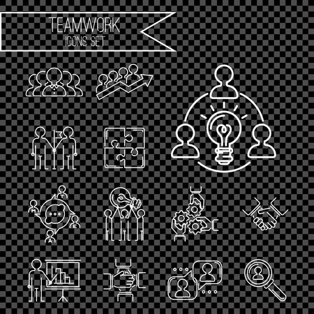 Illustration for Business teamwork teambuilding thin line icons work command management outline human resources concept vector illustration - Royalty Free Image