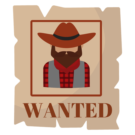 Ilustración de Most wanted man in hat poster concept grunge vector illustration. - Imagen libre de derechos