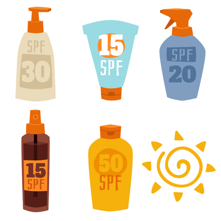 Illustration for Cream sunscreen bottle isolated on white background vector icon sunblock cosmetic summer container tube packaging design. - Royalty Free Image