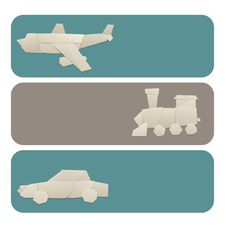 Illustrazione per Origami logistic paper transport banners vector illustration. - Immagini Royalty Free