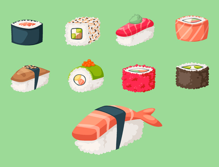 Illustration pour Sushi japanese cuisine traditional food flat healthy gourmet icons and oriental restaurant rice asia meal plate culture roll vector illustration. Fresh seafood diet dish delicious. - image libre de droit